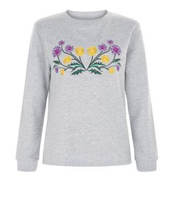 Heartbreak Grey Floral Embroidered Sweater  | New Look