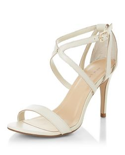 Cream Leather Cross Strap Heeled Sandals  | New Look