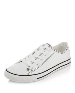 White Contrast Stitch Lace Up Plimsolls  | New Look