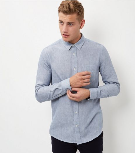 Blue Textured Single Pocket Long Sleeve Shirt  | New Look