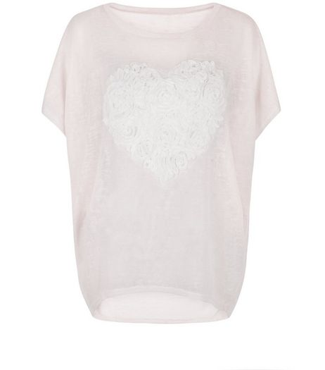 Blue Vanilla Pink Floral Heart Print Oversized T-Shirt | New Look