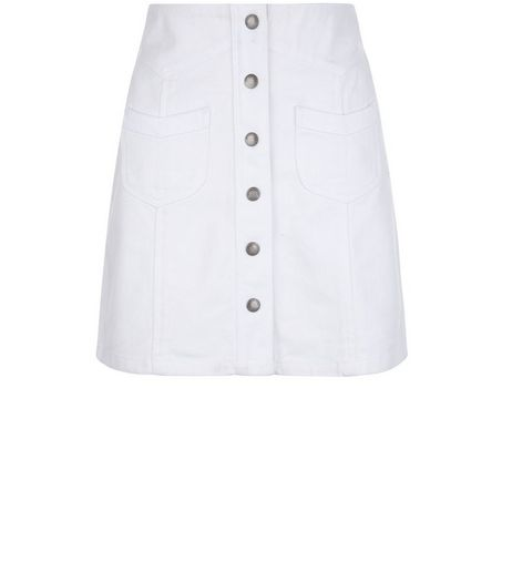 White Denim Double Pocket Button Front Skirt  | New Look