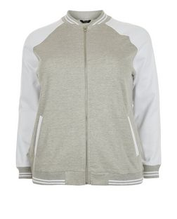 Plus Size Grey Colour Block Bomber Jacket  | New Look