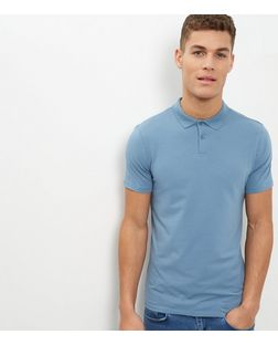 Blue Cotton Stretch Polo Shirt | New Look