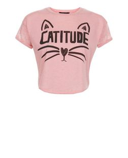 Teens Shell Pink Catitude Roll Sleeve Crop Top  | New Look