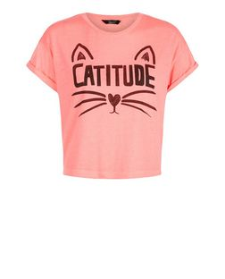 Teens Pink Catitude Print T-Shirt | New Look