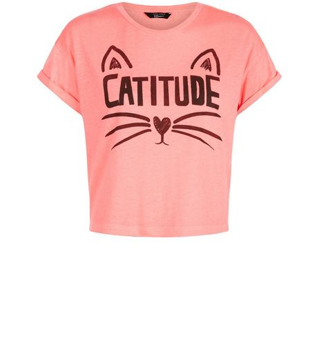 Teens Pink Catitude T-Shirt | New Look
