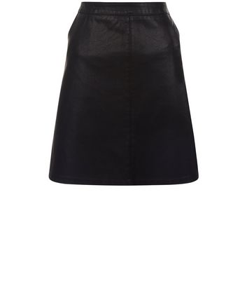 Gonna  donna Anita and Green Black Leather-Look Skirt