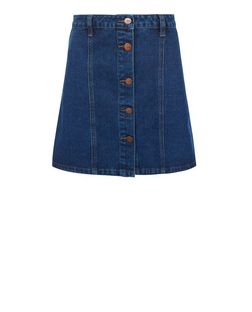 Anita and Green Blue Button Front A-Line Denim Skirt | New Look