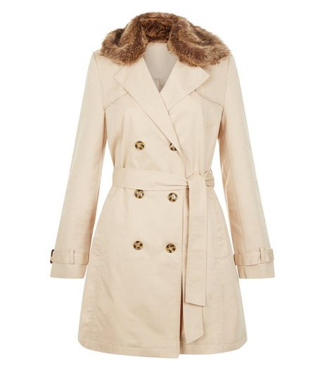 Anita and Green Stone Faux Fur Collar Trench Coat | New Look