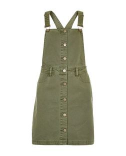 Anita and Green Khaki Button Front Pinafore Dress | New Look