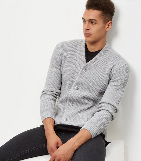 Light Grey Knitted Double Pocket Cardigan | New Look