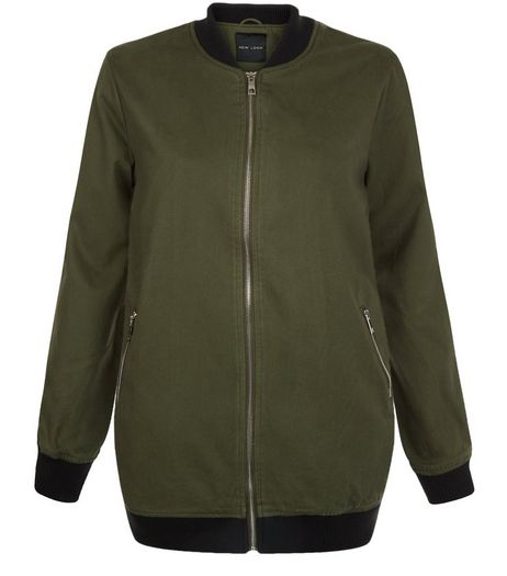 Khaki Cotton Twill Longline Bomber Jacket  | New Look