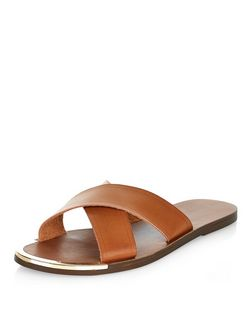Tan Cross Strap Sandals  | New Look