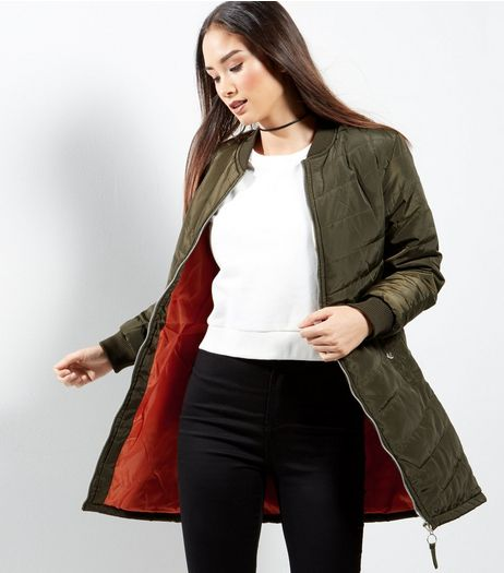 Khaki Quilted Longline Jacket | New Look