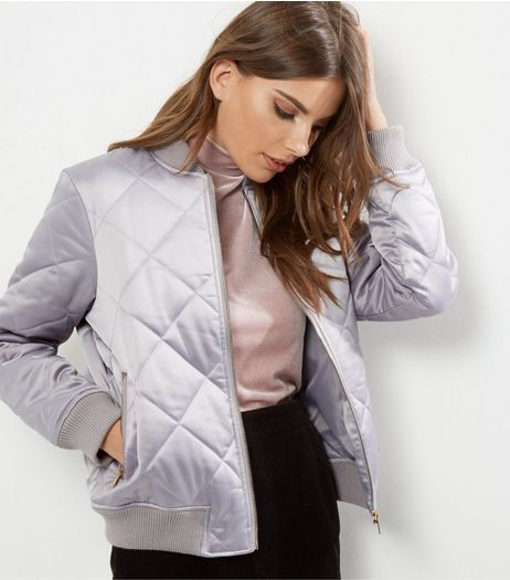 Grey Quilted Padded Bomber Jacket | New Look