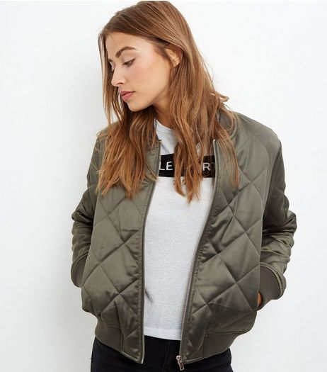 Khaki Diamond Quilted Bomber Jacket  | New Look