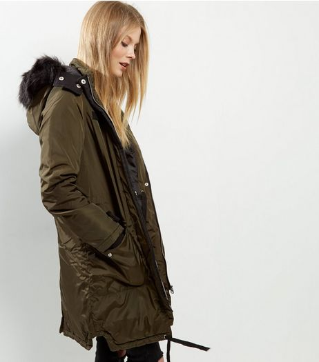 Brave Soul Khaki Faux Fur Trim Hooded Parka | New Look