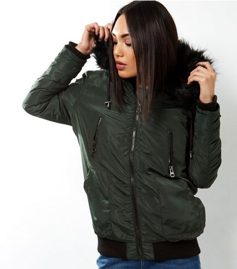 Dark Green Hooded Jacket  | New Look