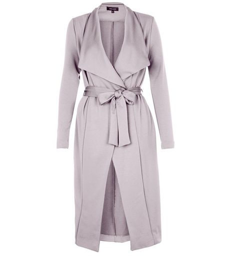 Grey Split Side Waterfall Coat  | New Look