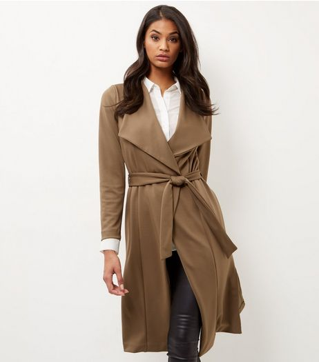 Khaki Split Side Waterfall Coat | New Look