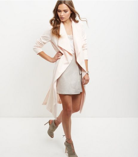 Shell Pink Split Side Waterfall Coat | New Look