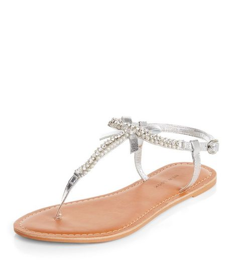 Wide Fit Silver Leather Pearl Trim Sandals  | New Look