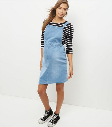 Maternity Blue Denim Pinafore Dress | New Look