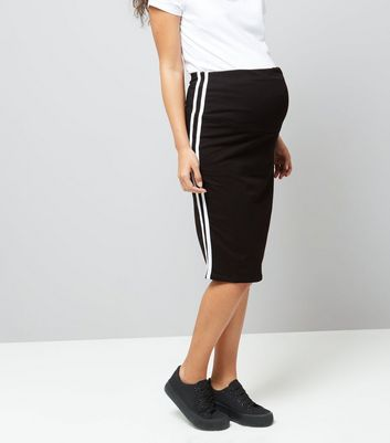 Product photo of Maternity black over bump contrast trim skirt