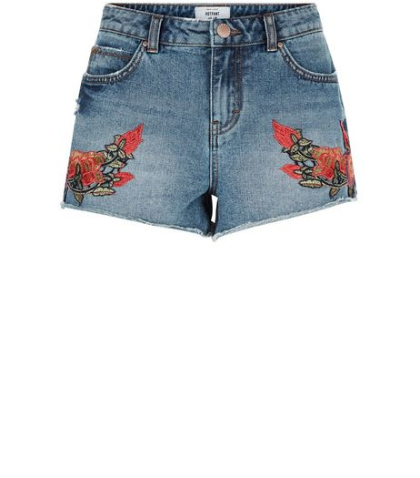 Blue Floral Embroidered Denim Shorts | New Look