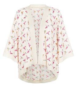 Mela Cream Bird Print Kimono | New Look