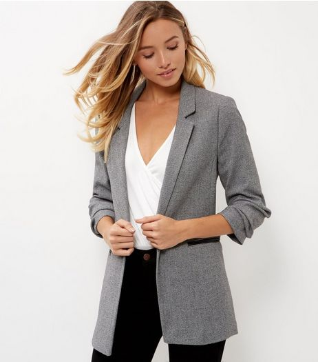 Grey Double Pocket Ruched Sleeve Blazer  | New Look