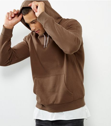 Khaki Long Sleeve Hoodie  | New Look