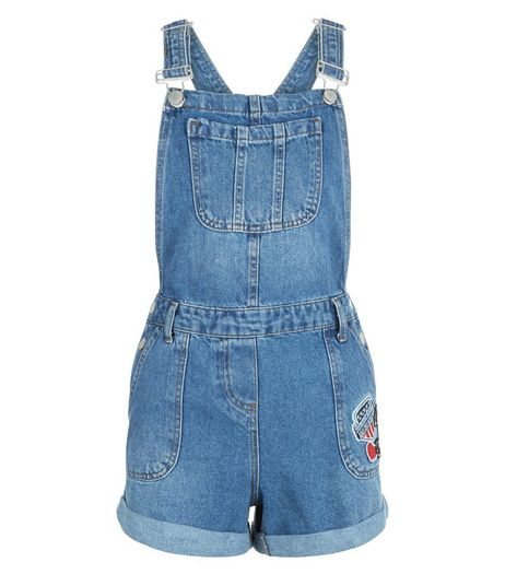 Blue Heart 3 Badge Short Dungarees  | New Look