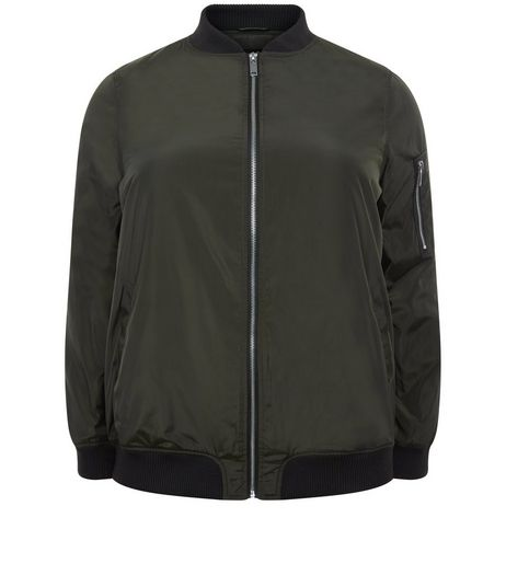 Curves Khaki Padded Bomber Jacket | New Look