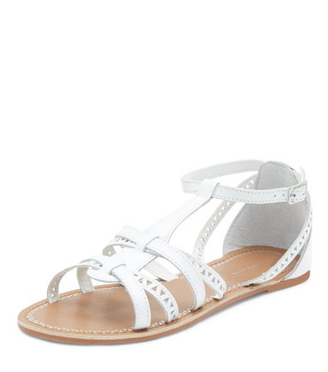 Teens White Leather Laser Cut Out Sandals | New Look