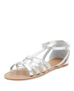 Teens Silver Laser Cut Out Sandals | New Look