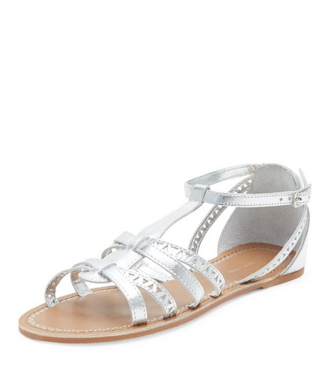Teens Silver Leather Laser Cut Out Sandals | New Look