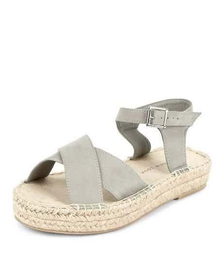 Teens Grey Flatform Espadrille Sandals | New Look