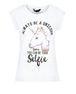 White Unicorn Emoji Roll Sleeve T-Shirt  | New Look