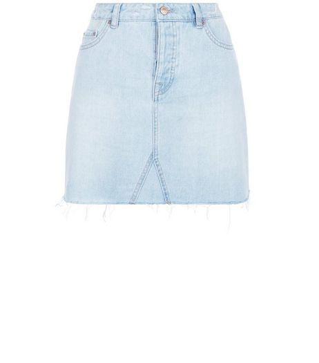 Blue Fray Hem Denim Skirt | New Look