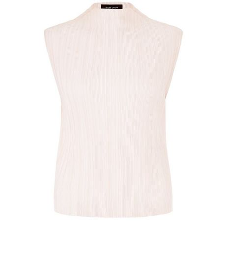 Shell Pink Pleated Funnel Neck Vest  | New Look