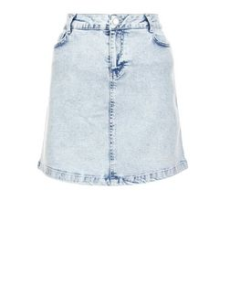 Light Blue Acid Wash A-Line Denim Skirt  | New Look