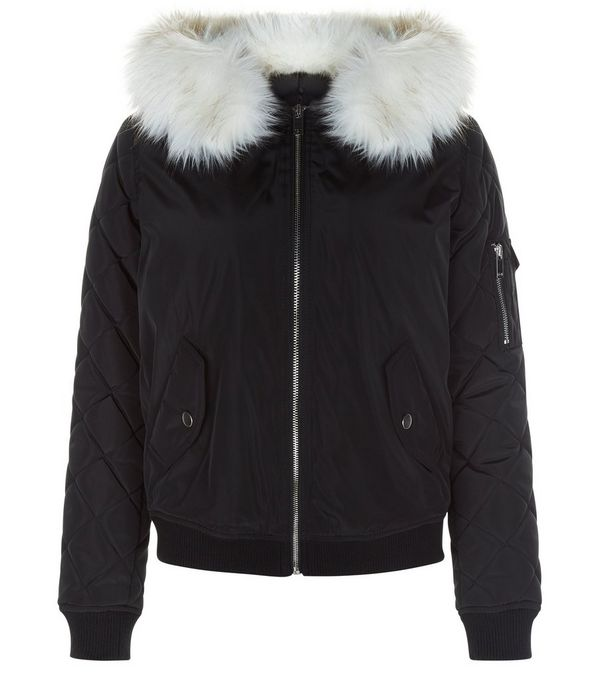 Teens Black Faux Fur Hooded Bomber Jacket