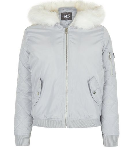 Teens Grey Faux Fur Hooded Bomber Jacket  | New Look