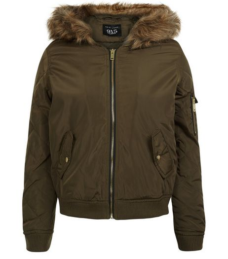 Teens Khaki Faux Fur Hooded Bomber Jacket | New Look