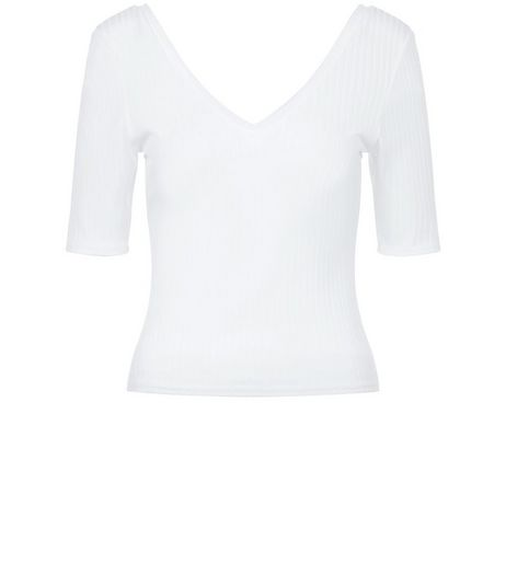 Petite White V Neck 1/2 Sleeve Top | New Look