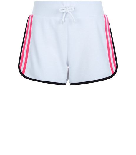 Teens White Neon Stripe Side Shorts | New Look