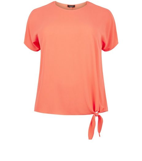 Curves Coral Tie Side T-Shirt | New Look