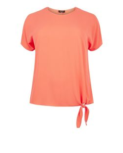 Plus Size Coral Tie Side T-Shirt | New Look